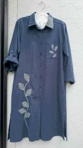 刺し子 葉っぱロングシャツ